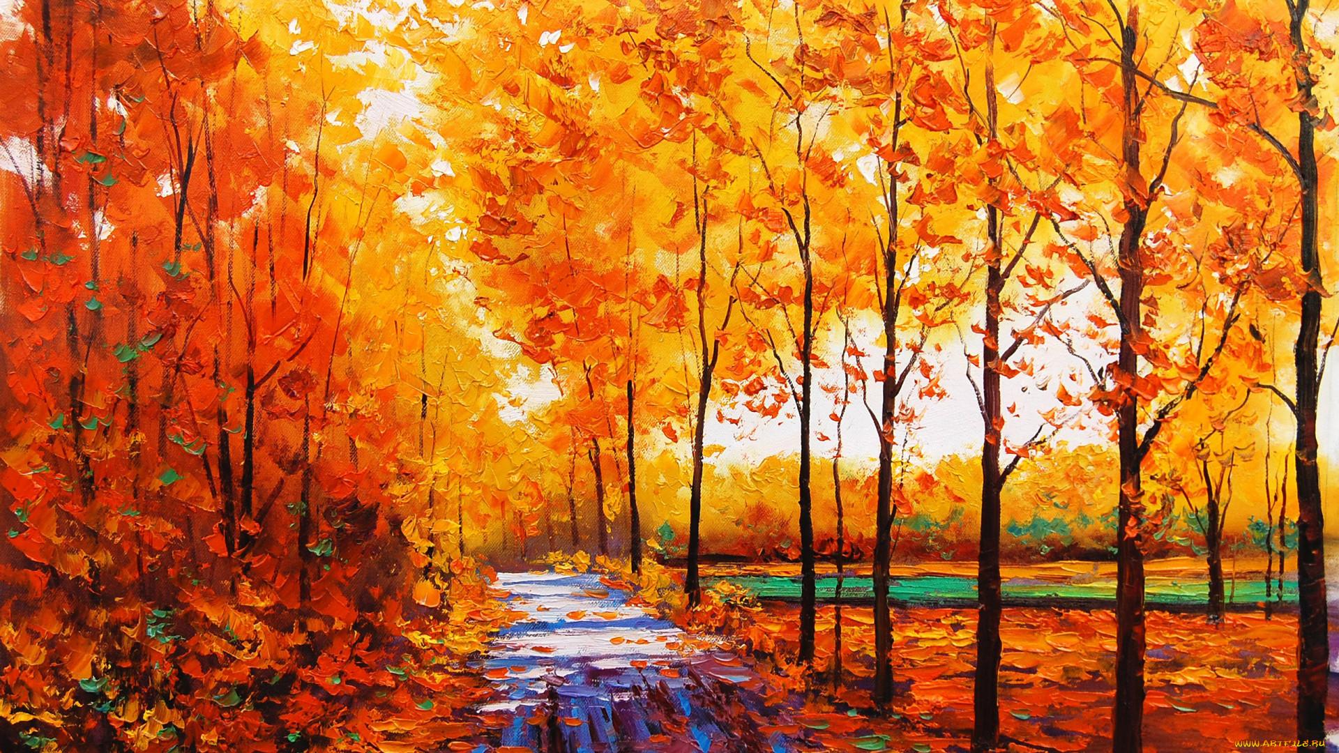 Рисованная природа осенью
